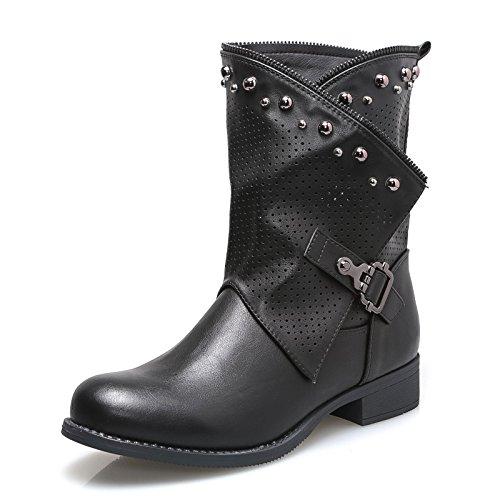 Mforshop scarpe donne stivaletti stivaletto tronchetto estivo traforato eco pelle g339 - nero, 40