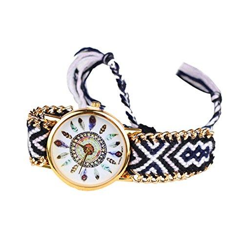 réf2s22BR. 637-Armbanduhr brasilianisches schwarz und weiß-Federn, Hippie Bohème-goldfarbener Kette-Verstellbar-Style Boho Chic - Schmuck Brasilianischer