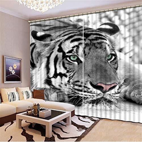 Xiaodanhan tenda creativo moderno tigre in bianco e nero 3d tessuto di seta nero finestra oscurante soggiorno camera da letto per bambini tenda 290(altezza) x140cm(larghezza) x2