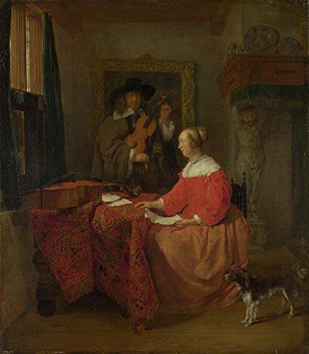 Das Museum Outlet-Gabriel Metsu-Eine Frau an einem Tisch und Tuning ein Mann eine Violine, gespannte Leinwand Galerie verpackt. 29,7x 41,9cm