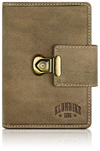 Klondike 1896 Damen Geldbörse aus echtem Leder 'Kitty', hochwertiges Echtleder Portemonnaie, Limited Edition, Stone