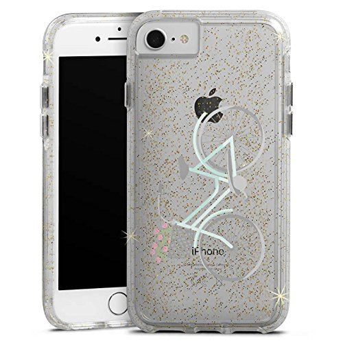 Apple iPhone 7 Bumper Hülle Bumper Case Glitzer Hülle Fahrrad Frankreich Retro Bumper Case Glitzer gold