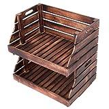 Divero 2er Set Vintage Holzkiste Stapel-Kiste Spielzeug-Box Stiege Braun geflammt Aufbewahrung 49 cm x B 35 cm x 25,5 cm