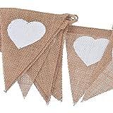 obiqngwi 13pcs Toile de Jute Amour Coeur Fanion Drapeau Triangulaire bannière fête de Mariage décor à la Maison