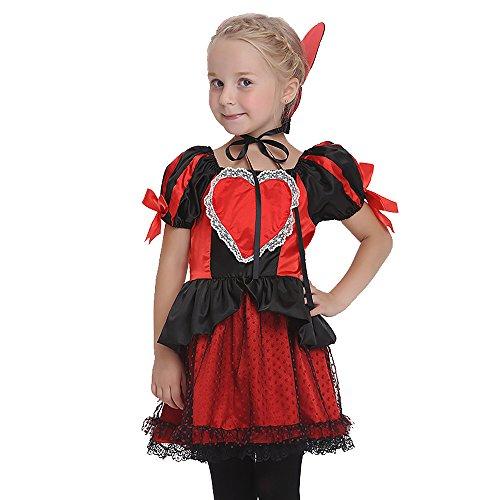 Uleade Kids Deluxe Königin der Herzen Kostüm Halloween Festival Performance Kostüm Party Cosplay Kleider Outfit (Kinder Königin Der Herzen Kostüm)
