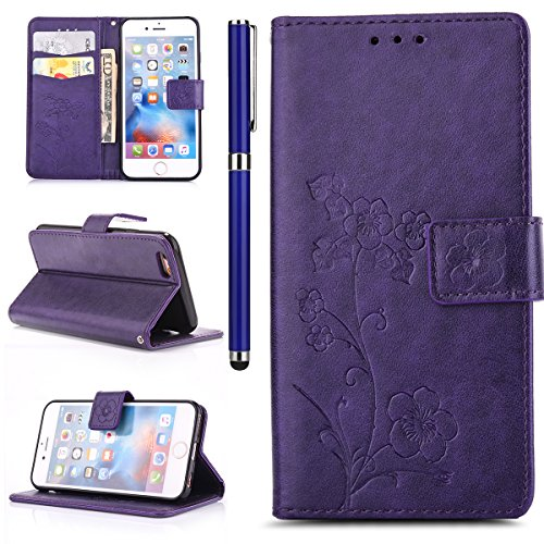 EUWLY Portafoglio Cover per iPhone 6/iPhone 6s (4.7), Retro Luxury Pure Color Flip Case Cover per iPhone 6/iPhone 6s (4.7) in Pelle PU Custodia Cover [Shock-Absorption] Protettiva Portafoglio Cover  Fiore Foglie,Viola