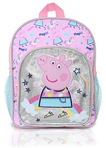 Peppa Pig Mochilas Escolares Juveniles | Mochila De Unicornios para Niñas con Purpurina Plateada Y Arco Iris | Bolso Escolar Niño Y Niña | Bolso De Viaje para Niños Pequeño para La Guardería