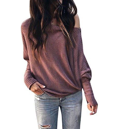 Damen Pullover,Honestyi Frauen lose beiläufige Schulter lange Ärmel stricken Elegant Pullover Einfarbig Baumwolle Bluse Tops oversizeT-Shirt (M, Weinrot)