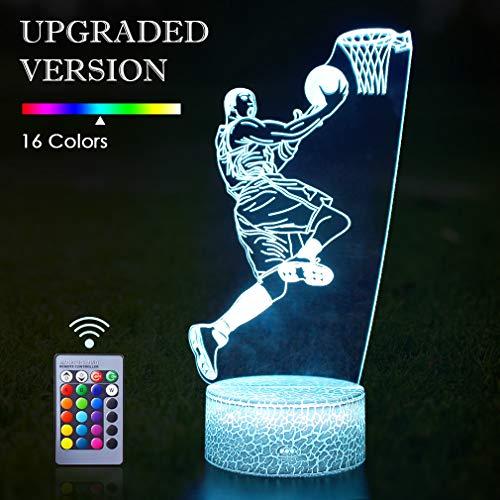 Basketball 3D Lampe Geburtstagsgeschenk Nachtlicht, 16 Farben Ändern Fernbedienung Illusion Lichter Geschenke Ideen für Teen Jungen Kinder Kind Weihnachten Geburtstagsfeier (Basketball Mann)