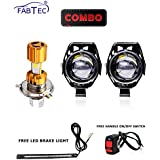 Fabtec Combo of U5 LED Fog Lamp with On-Off Switch, Missile Bike LED Headlight and Brake Light for All Bikes