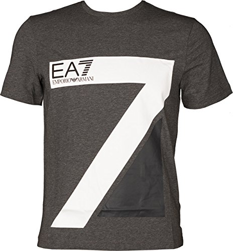 EA7 Emporio Armani Man Jersey Tshirt 6YPTA0PJ03Z-3925 Herren T-Shirt (XL, Grey/White) (Emporio Armani-jersey-t-shirt)