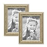 PHOTOLINI 2er Set Bilderrahmen Antik Silber Nostalgie 13x18 cm Fotorahmen mit Glasscheibe/Kunststoff-Rahmen