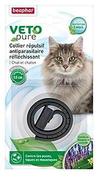 Beaphar - VETOpure, collier répulsif antiparasitaire réfléchissant - chat et chaton - noir