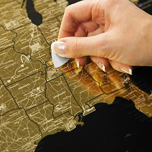Premium Scratch Off USA Poster - 60 x 40 cm - Rewritable US Travel Map - Made From Flexible Plastic