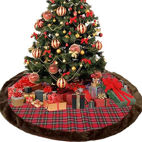Siennaa Weihnachtsbaum Decke, Kariert Gedruckt Weihnachtsbaum Rock Dekoration Weihnachtsbaumdecke Rund Weihnachtsbaum Röcke Weihnachtsschmuck Weihnachtsbaum Deko Weihnachtsdeko (Kariert#107cm)