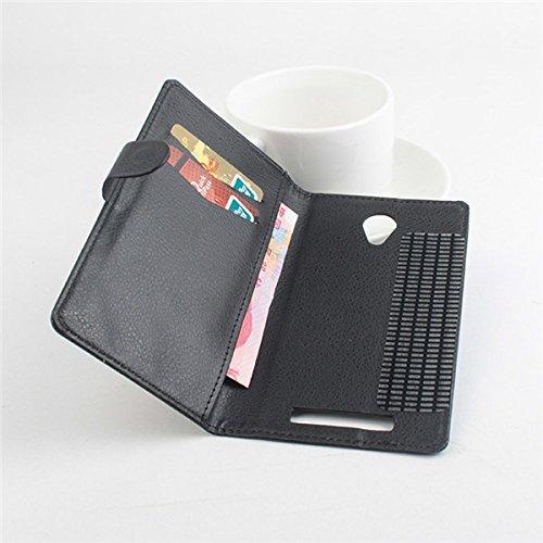 LingMao Easbuy Pu Leder Kunstleder Flip Cover Tasche Handyhülle Case Mit Halter Und 3 Karte Slot Design für JIAYU S3 4G LTE Smartphone (Schwarz)