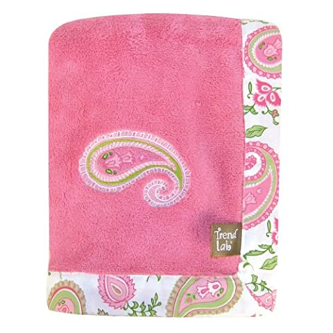 Trend Lab Paisley Park Coral Fleece Framed Receiving Blanket,