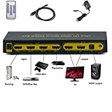 Matrix 6 x 2 HDMI Verteiler 4 In 2 Out Splitter Switch 4K 2K ULTRA HD 1080p 3D V1.4 ARC EDID Umschalter Audioausgang 5.1 Surround SPDIF optisch + Stereo 3.5mm Klinke Audioausgang | ARC und PIP Audio - 6 Eingänge an 2 Ausgänge 602