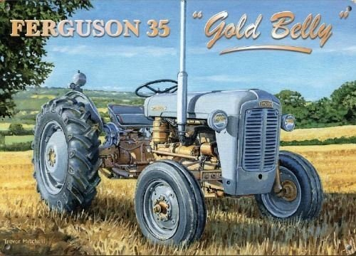 Gold-traktor (New 15X 20cm Ferguson 35Gold Bauch Traktor Emaille Stil Metall Werbung Schild)