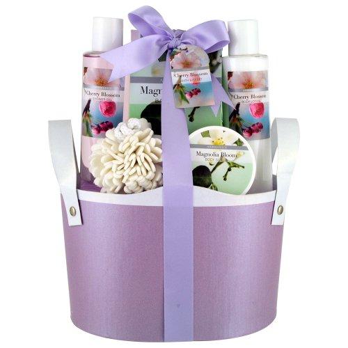 Gloss! Flower - Cesta de baño regalo, cereza y magnolia, color púrpura
