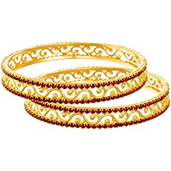 Jfl - Jewellery For Less Austrian Diamond One Gram Gold Plated Red Bangle Set For Women