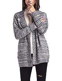 Mujer Cárdigans Invierno Otoño Manga Larga Jerséis De Punto Elegante  Vintage Rayas con Bolsillo Rebecas Moda Casual Sueltos Abierto Termica… fb4bd269baca