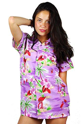 King Kameha | Funky Hawaiibluse Hawaiihemd | Damen | Kurzarm | Front-Tasche | Hawaii-Print | Flamingos Blumen Palmen