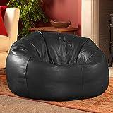 Pouf de Luxe en Cuir Véritable–Icon Pouf–Pouf poire à panneaux XL Sac en cuir noir