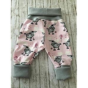 Baby Pumphose Schlupfhose newborn Gr. 68-80 Esel grau-rosa handmade