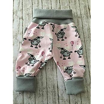Baby Pumphose Schlupfhose newborn Gr. 80-92 Esel grau-rosa handmade