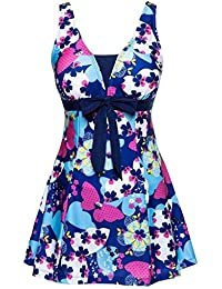 5b81ebfa1d Ecupper Womens One Piece Swimsuit Floral Printed Plus Size Bathing Suit  Swimdress with Skirt