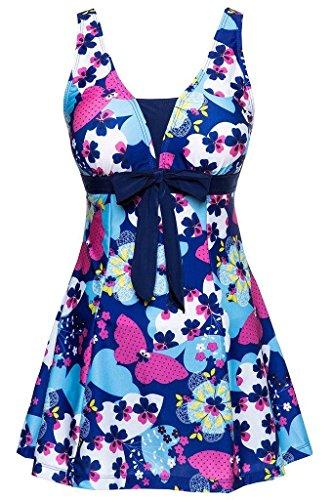 eid Blumen Muster Gepolstert Badeanzug mit Shorts Bademode Große Größen Dunkel Blau,DE46 ()