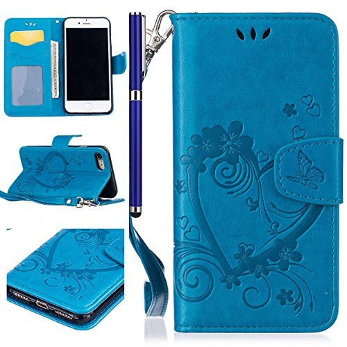 EUWLY Portafoglio Cover per iPhone 5S/iPhone SE, Retro Luxury Pure Color Flip Case Cover per iPhone 5S/iPhone SE in Pelle PU Custodia Cover [Shock-Absorption] Protettiva Portafoglio Cover in PU Leathe Blu,Amore Cuore