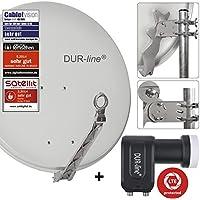 DUR-line 2 Teilnehmer Set - Qualitäts-Alu-Satelliten-Komplettanlage - Select 75/80cm Spiegel/Schüssel Hellgrau + Twin LNB - für 2 Receiver/TV [Neuste Technik, DVB-S2, 4K, 3D]