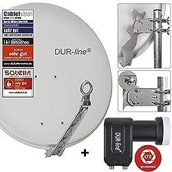 DUR-line 2 Teilnehmer Set - Qualitäts-Alu-Satelliten-Komplettanlage - Select 75cm/80cm Spiegel/Schüssel Hellgrau + Twin LNB - für 2 Receiver/TV [Neuste Technik, DVB-S2, 4K, 3D]