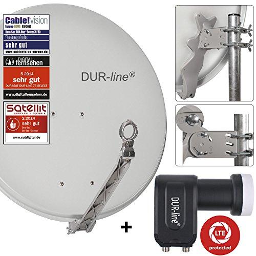 DUR-line 2 Teilnehmer Set - Qualitäts-Alu-Sat-Anlage - Select 75/80cm Spiegel/Schüssel Hellgrau + DUR-line Twin LNB - Satelliten-Komplettanlage - für 2 Receiver/TV [Neuste Technik - DVB-S/S2, Full HD, 4K/UHD, 3D]