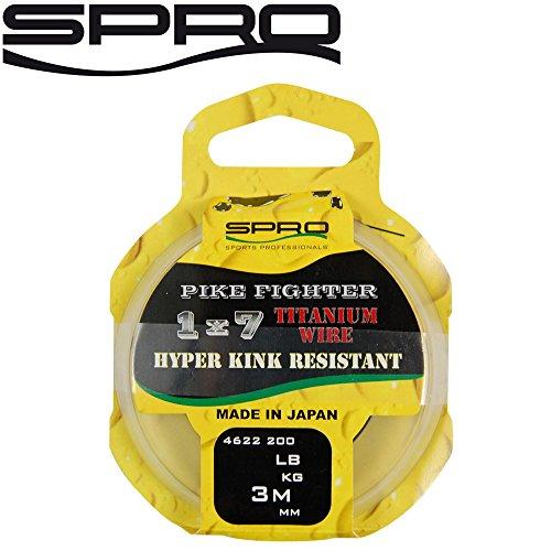 Spro Pike Fighter Titanium Wire 3m - Titanvorfach zum Hechtangeln, Titan Vorfachmaterial für Spinnvorfach, Hechtvorfach, Durchmesser/Tragkraft:0.56mm / 60lb / 27.3kg Tragkraft -