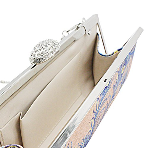Sasairy Donna Pochette da Materiale Flash Piuma Modello con Catena Borsetta da Sera Elegante Borsa Banchetti Borsa da Sposa per Nozze Partito Vita Quotidiana Beige