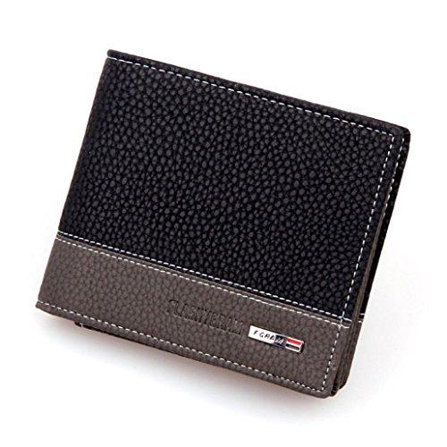 Internet Carte Bifold titulaire portefeuille porte-monnaie en cuir de hommes 11.6cm * 9.6cm * 2.2cm (Noir)