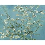 Quadro + telaio BORDO COLORATO mandorlo in fiore di vincent van gogh 120x95x4 cm falso d'autore stampa su tela