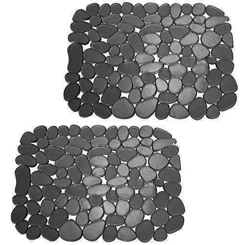 mDesign 2er-Set Spülbeckeneinlage zum Zuschneiden - praktische Spülbeckenmatte aus PVC für die Küche - Spülbecken Schutzmatte für Geschirr und Becken - Kieselsteinmuster in schwarz