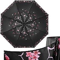 MVBGLK Elegant Beach Travel Umbrella Female Butterfly Folding Umbrella Lady Wind Resistant Black Coating Flower Women Rain Umbrellas