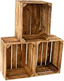3er Set alte Vintage Holzkiste - geflammt / gebrannt - alte, gebrauchte Obstkiste / Weinkiste