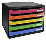 Exacompta Big Box Plus Quer Classic Harlekin mit 5 Schubladen / Stapelbare Schubladenbox im Querformat für mehr Platz auf dem Schreibtisch in Bunt