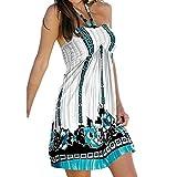 Minetom Damen Sommerkleid ärmellos Halfter Drucken Kleid A-Linie Knielang Strandkleid Casual Lose Sommerkleid Weiß DE 42