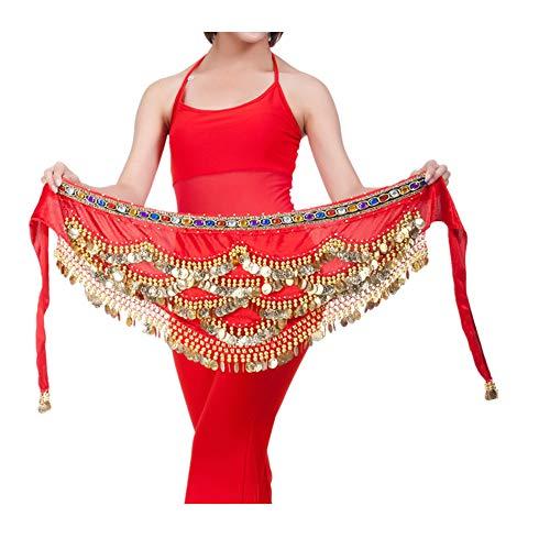 Dorical Bauchtanz-Taillenkette Bauchtanz-Hüfttuch mit Münzen Röcke Wickeln Bunte Taille Kette,Frauen Indien Tanz Bauchtanz Elegante Taille Kette Münzen Durchbohrt Hüfttuch