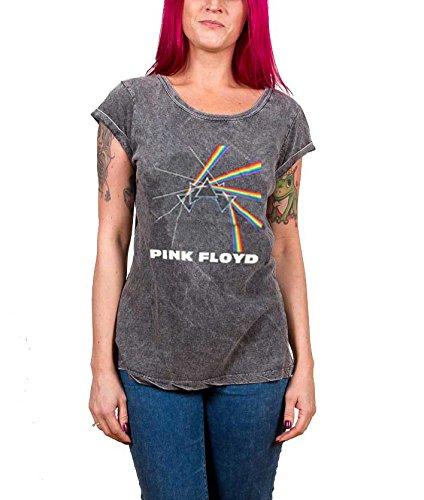 Pink Floyd T Shirt Darkside of the moon logo Nue damen Acid Wash skinny fit (Musik Shirt Logo Band Altes)