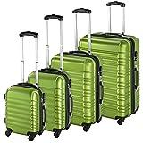 TecTake 4 teiliges ABS Reisekofferset Trolley Hartschalenkoffer 4 Rollen 360 Grad grün