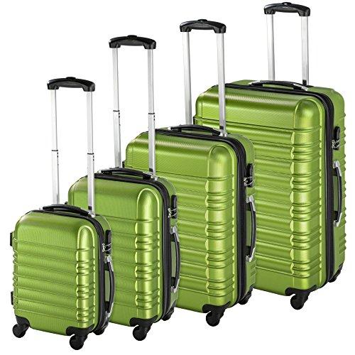 TecTake Set di 4 valigie ABS rigido trolley valigia bagaglio a mano borsa elegante verde