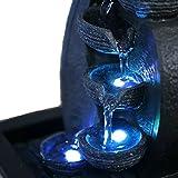 Zimmerbrunnen Innenbrunnen Feng Shui Wasserfall Braun LED Farb Beleuchtung 26